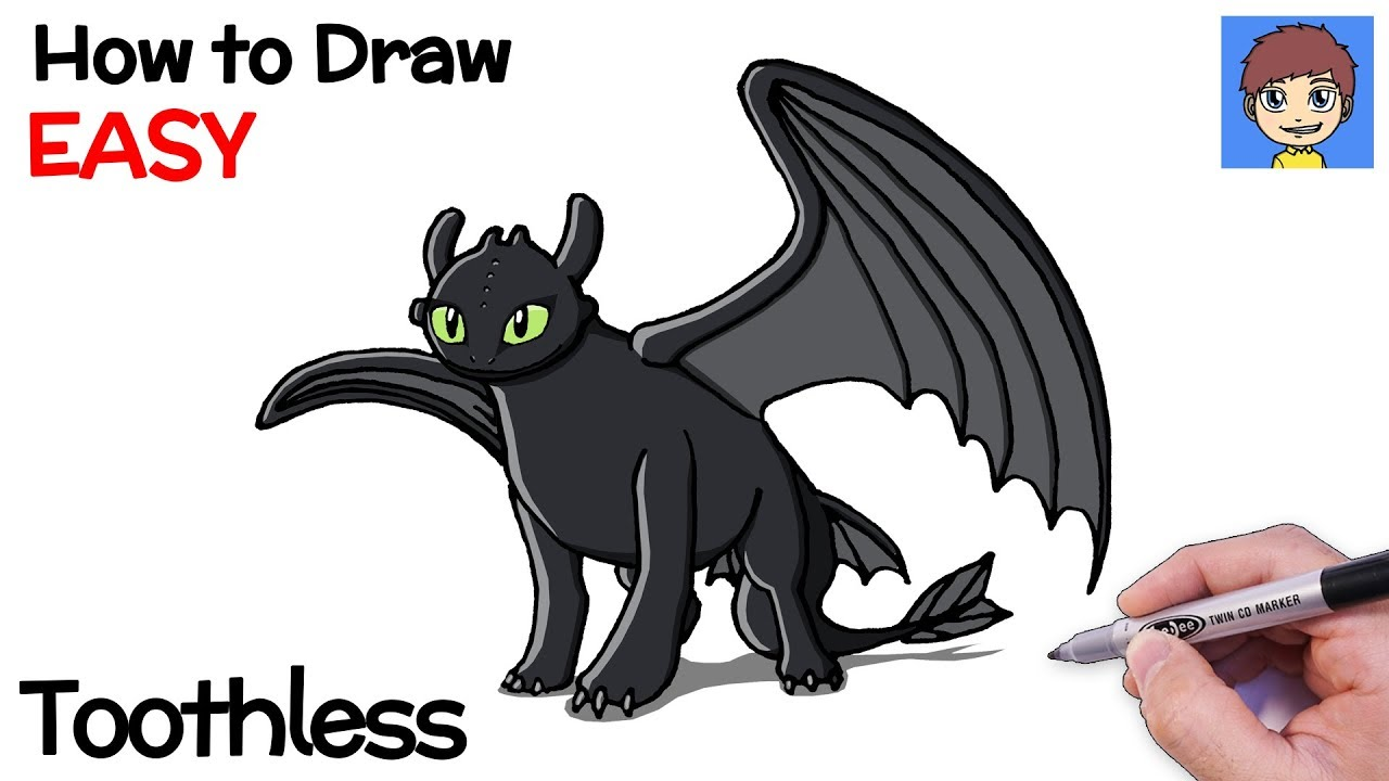 How To Draw Toothless Step By Step How To Train Your Dragon 3 Drawing