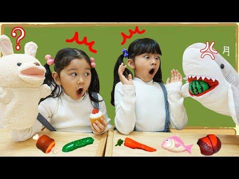 サメは何を食べるの?動物のお名前組み合わせ☆学校シリーズhimawari-CH