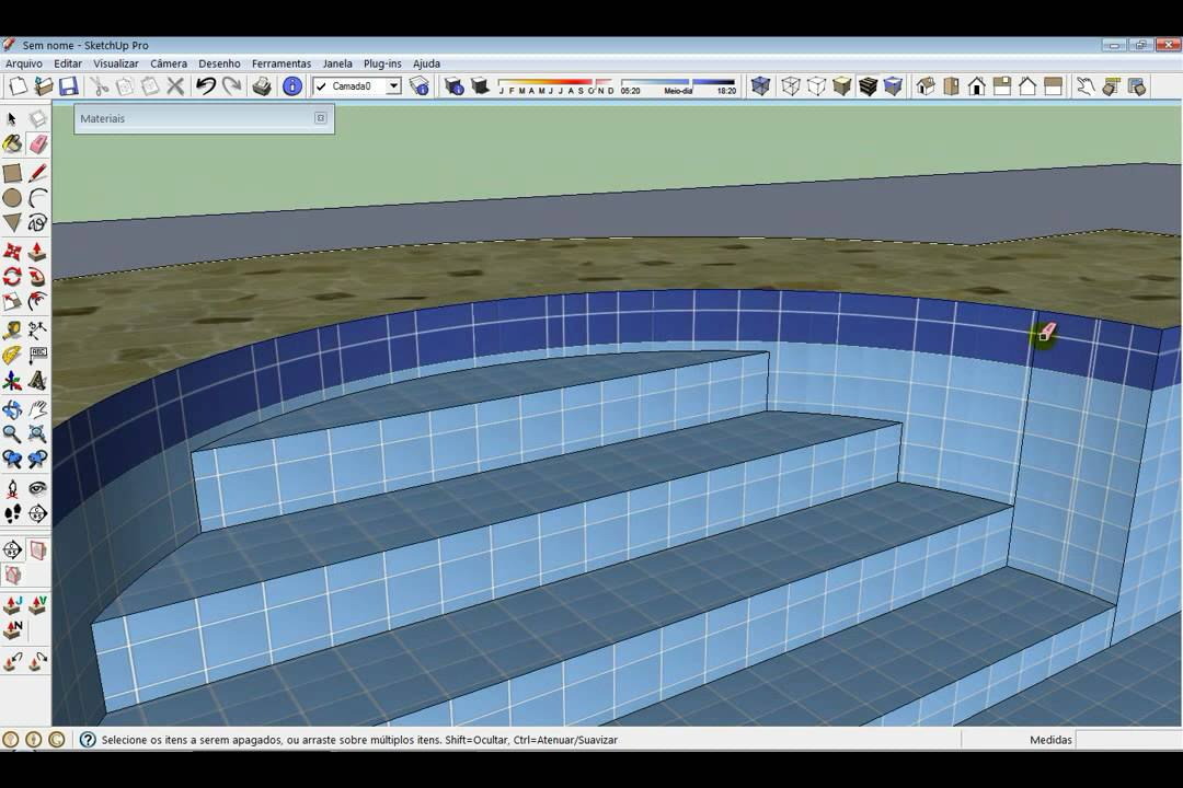 Criando uma piscina swimming pool in sketchup youtube for Pool design sketchup