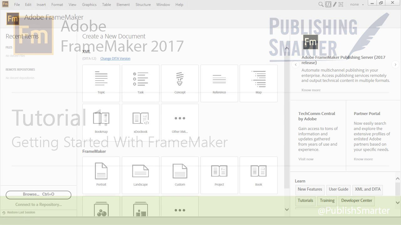Get Started with Adobe FrameMaker 2017 and DITA - YouTube