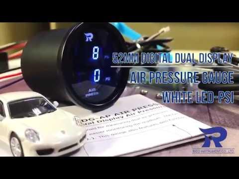 Digital Dual Display Air Pressure Gauge White LED