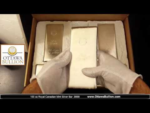 100 oz Royal Canadian Mint Silver Bars  OttawaBullion