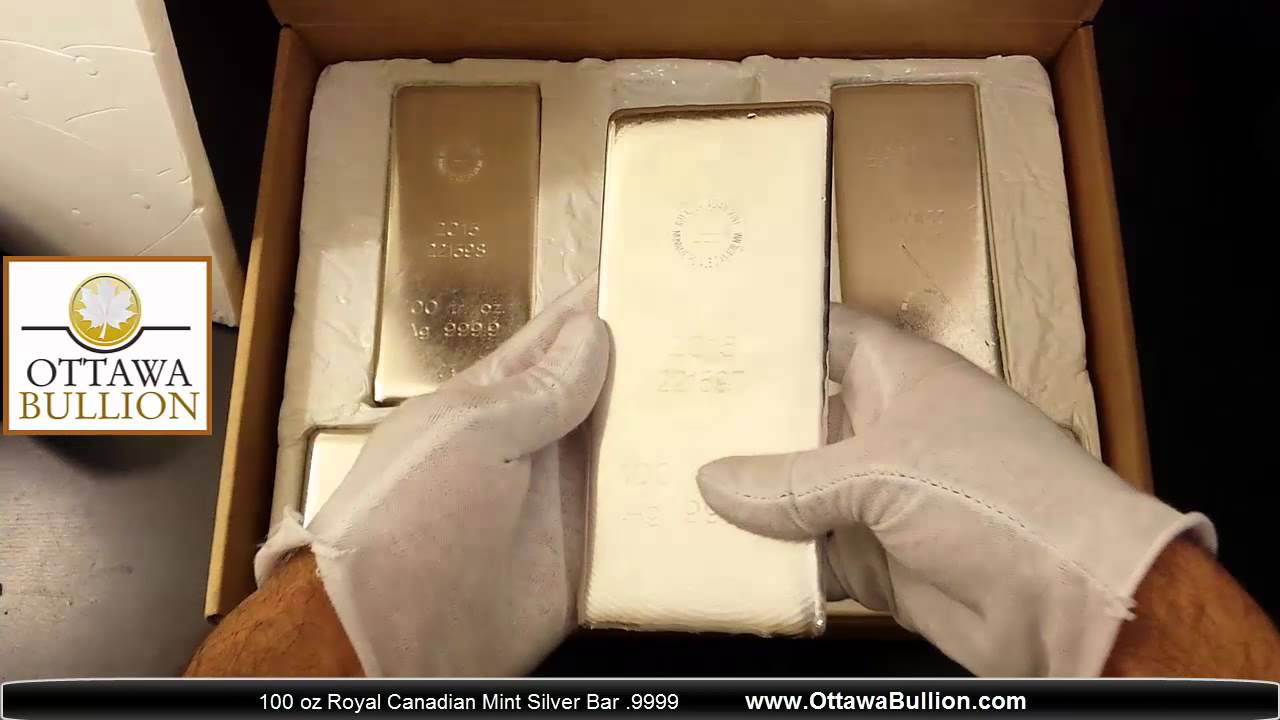 100 Oz Royal Canadian Mint Silver Bars Ottawabullion Youtube