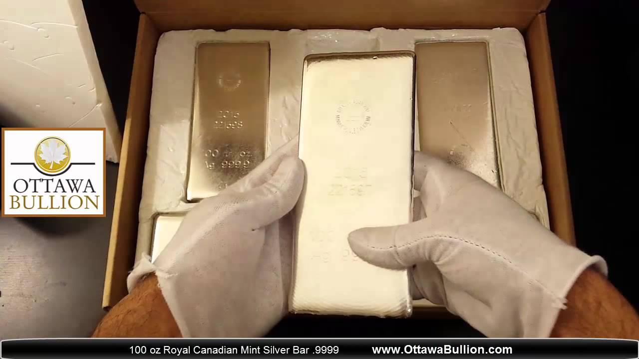 100 Oz Royal Canadian Mint Silver Bars Ottawabullion Youtube