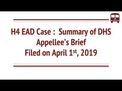 H4 EAD Rule Lawsuit April 1st DHS Appelle Brief Summary