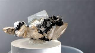 Phantom Fluorite,Wolframite,Quartz - China (cabinet 6.5x5.5x3 cm)