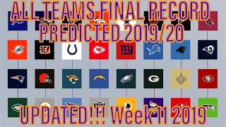 Predicting all 32 NFL teams final records! + playoff predictions (2019)