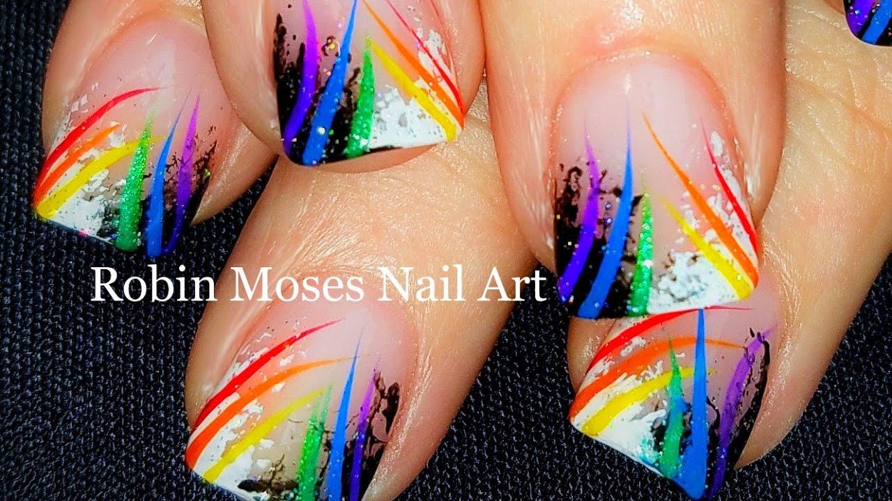 Sponge Nail Art | Beginner Technique + Rainbow stripes | DIY Nails ...