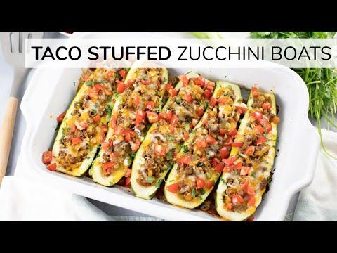 ZUCCHINI TACO BOATS | stuffed zucchini boats