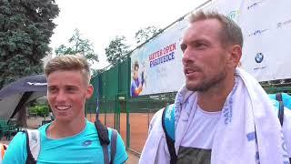 Michael Vrbenský a Jan Mertl po vítězství ve čtvrtfinále deblu Rieter Open Pardubice 2018