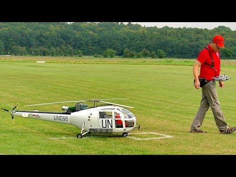 HUGE RC ALOUETTE III SCALE ELECTRIC MODEL HELICOPTER FLIGHT DEMONSTRATION