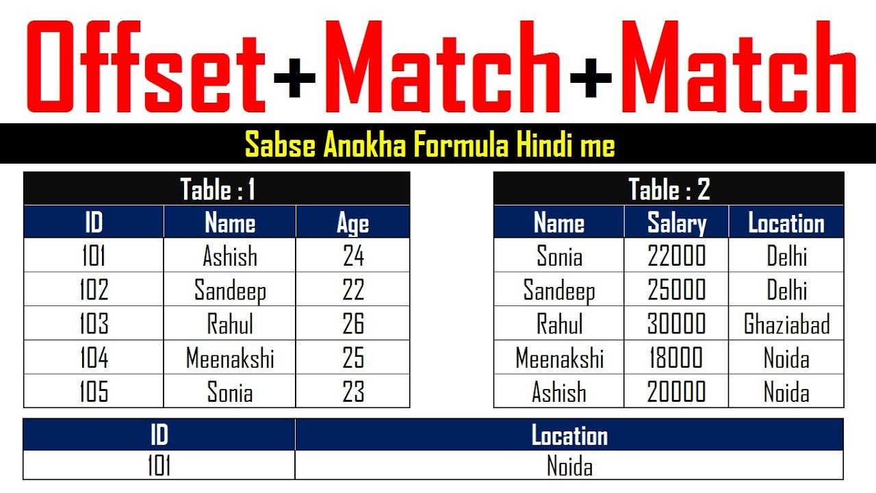offset match formula in excel hindi