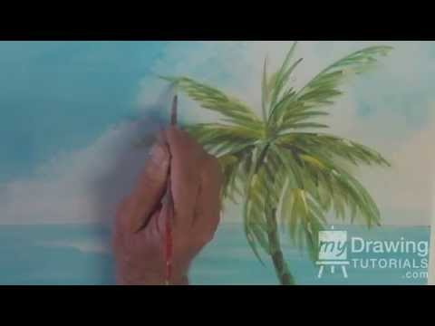-Acrylic Seascape Painting Lesson (Pt 2) – How To Paint A Palm Tree