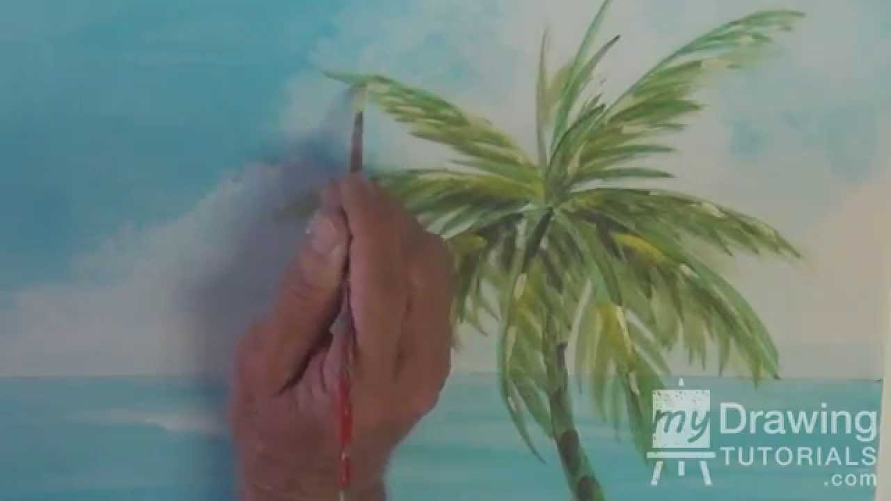 Popular Acrylic Seascape Painting Lesson (Pt 2) – How To Paint A Palm Tree  RA31