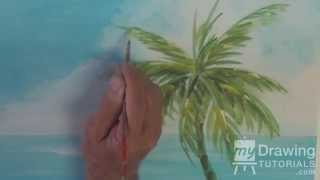 Acrylic Seascape Painting Lesson Pt 2 – How To Paint A Palm Tree