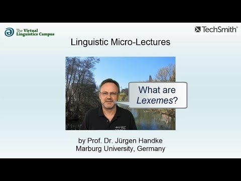 Linguistic Micro-Lectures: Lexemes