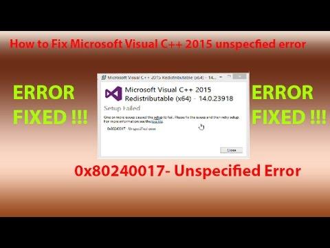 How to Fix 0x80240017 Windows Visual C++ 2015 installation error.
