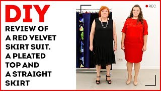 DIY: Review of a red velvet skirt suit. A pleated top and a straight skirt.