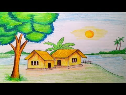 How to draw Landscape /scenery of beautiful nature.. step by step
