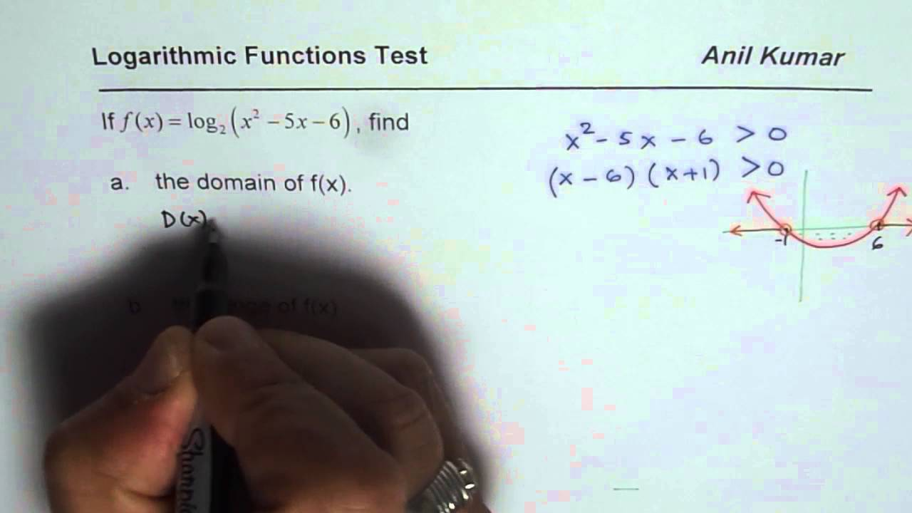 Domain and range of logarithmic function with quadratic argument domain and range of logarithmic function with quadratic argument youtube ccuart Image collections