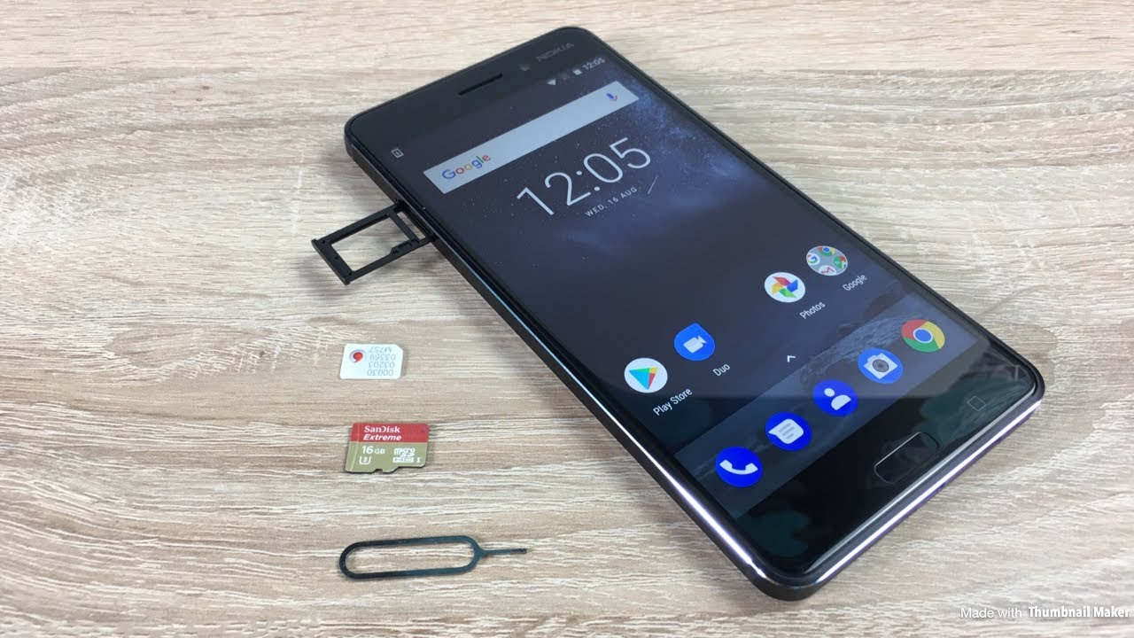 Nokia 6 insert sim and sd card - YouTube
