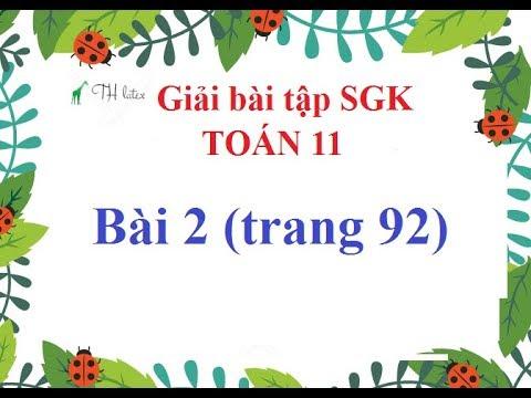 [Giải bài tập SGK-Toán 11-Giải tích] – Bài 2 (trang 92)   THẦY THÙY