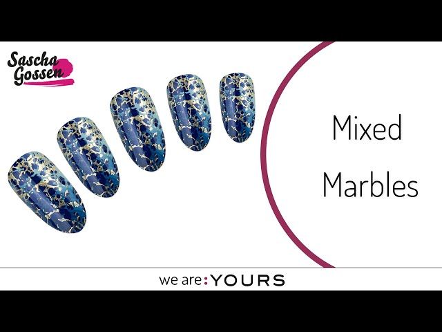 Mixed Marble stamping nail art design