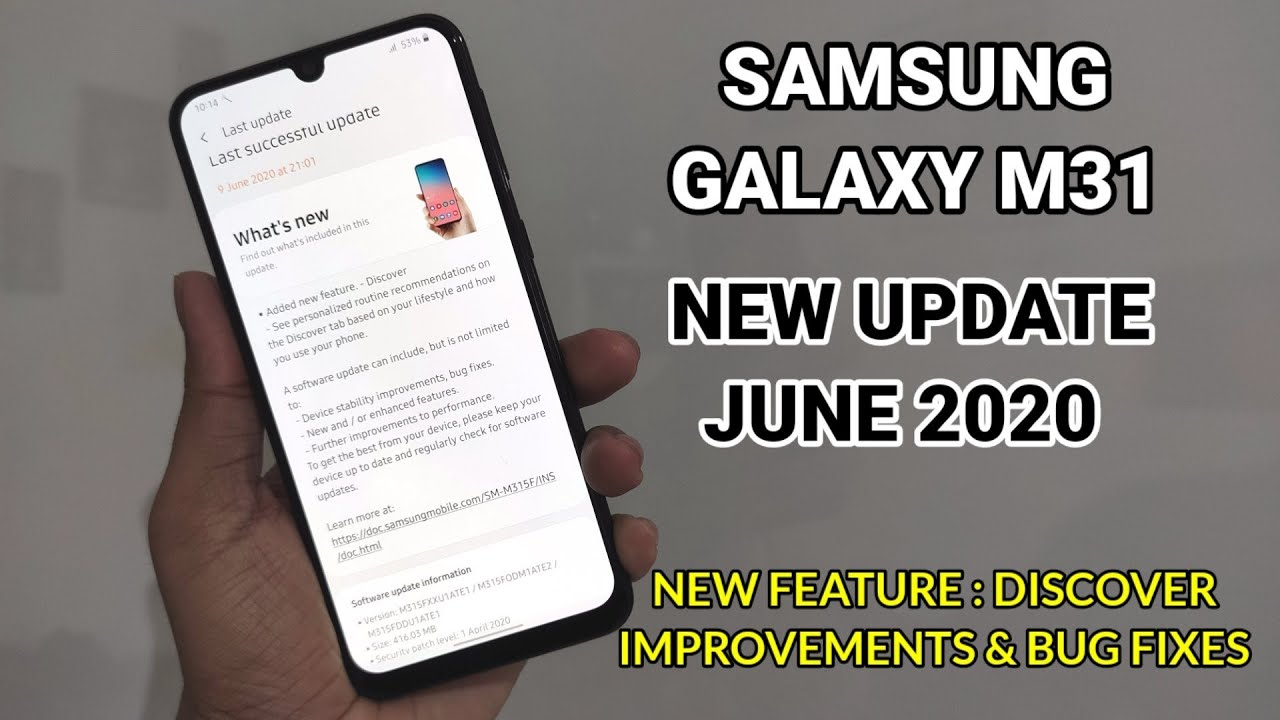 Samsung Galaxy M31 : New Update June 2020