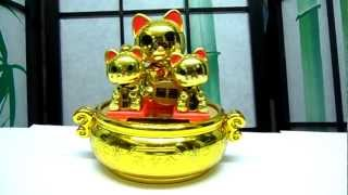 Solar Powered Power Japanese Oriental Lucky Waving Bobble Head Fortune Cat