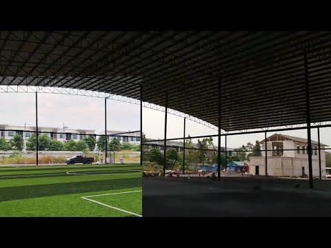 ชั้นพื้นฐานแบบชั้นหินสนามฟุตบอลหญ้าเทียม สนามDMK Arena ดอนเมือง