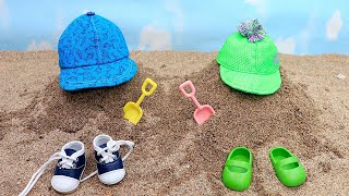 Baby dolls play Hide and Seek Games on the Beach