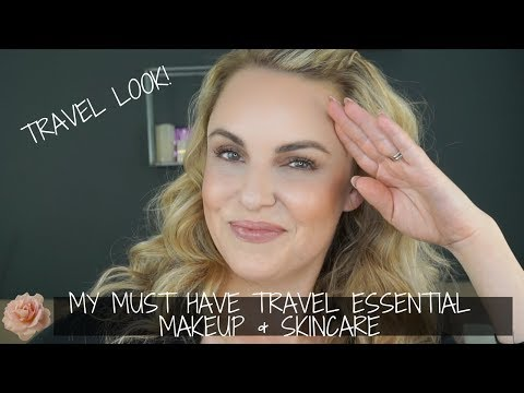 My Must Have Travel Essential Makeup & Skincare || Easy Travel Look - Elle Leary Artistry