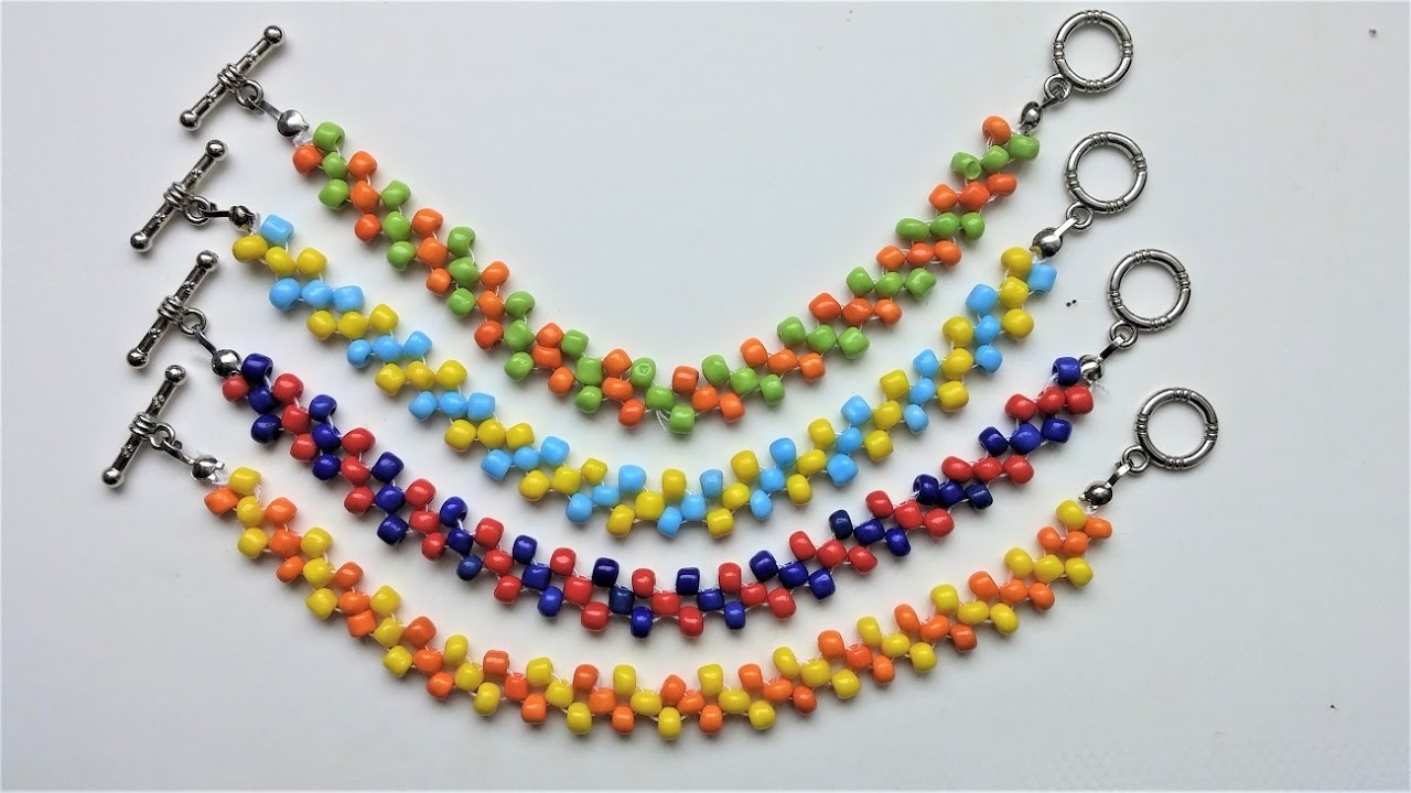 Easy Beaded Beginners Pattern Diy Colorful Bracelets