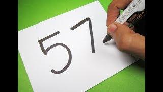 Bir Karikatür KÖPEK içine 57 Numara çevirme ! Sayılarla eğlenceli çocuklar için Çizim