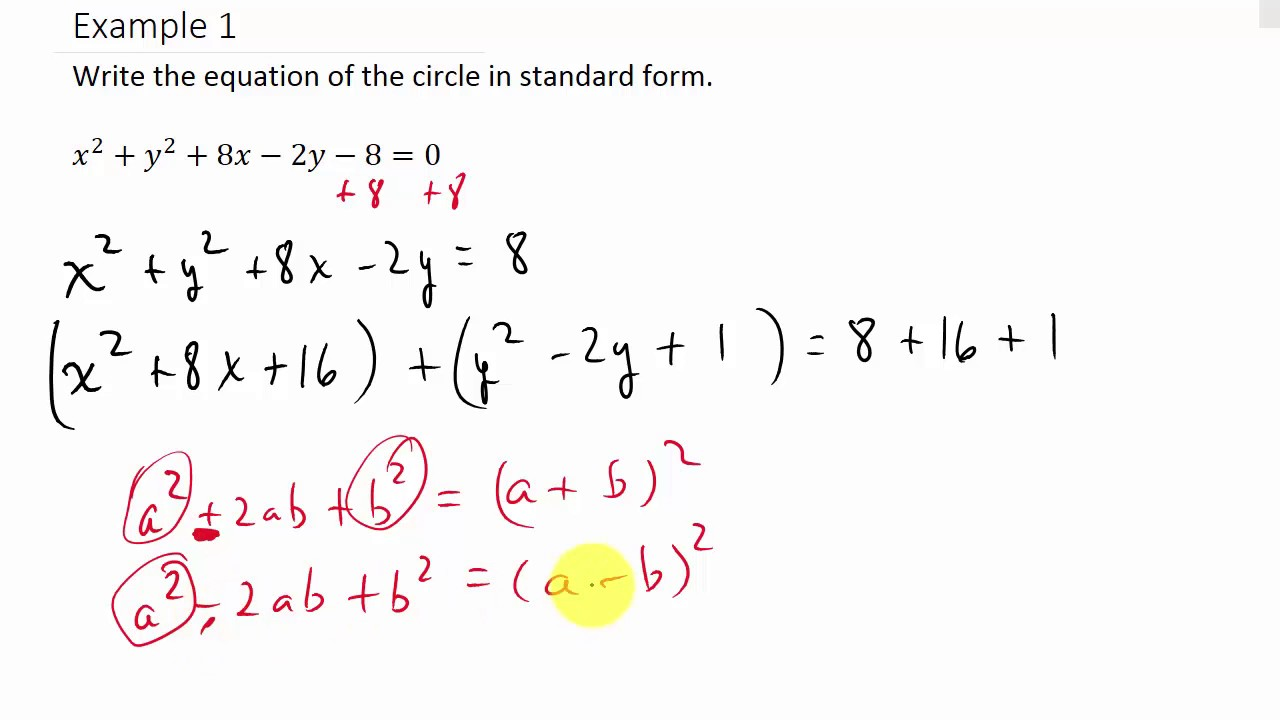 Converting a Circle From General Form to Standard Form - YouTube