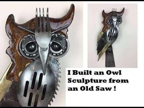 Time Lapse How to Weld An Owl Sculpture from an Old Saw and Scrap Recycled Metal