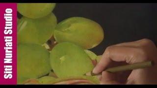 Colored Pencil Demo - Bowl Of Grapes: Coloring the Green Grape | Siti Nuriati Husin