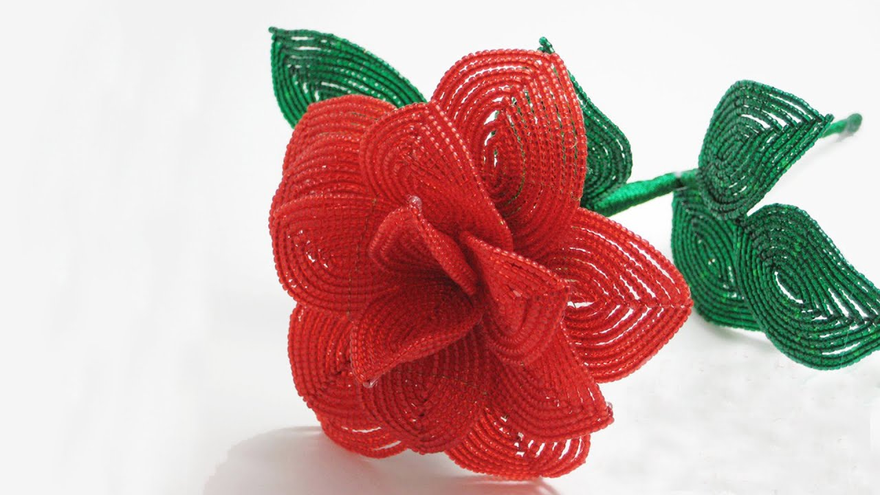 French Beaded Flowers Rose Pattern Youtube