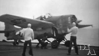 Catapulting off a World War 2 Aircraft Carrier - US Navy - 1944