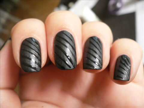 Black Contrasts Matte Glossy Nail Tutorial