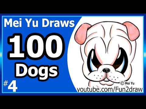 100 Drawings CHALLENGE - Mei Yu Draws 100 Dogs #4 - Shar Pei Puppy