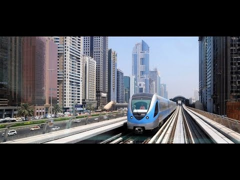 Dubai metro train journey. Dubai United Arab Emirates