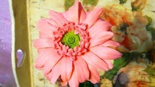 Гербера из холодного фарфора(Подробный мастер класс как лепить цветок герберы из холодного фарфора, точно так же лепится гербера из..., 2015-01-10T09:07:08.000Z)