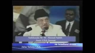 Inaugural Address by Hazrat Sahibzada Mirza Muzaffar Ahmad Jalsa Salana, America 2002