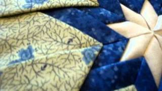 Amish Quilted Folded Star Hot Pad Blues