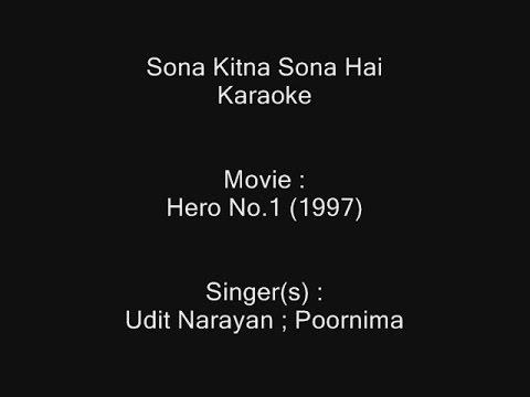Download Sona Kitna Sona Hai - Karaoke - Hero No. 1 (1997) - Udit Narayan ; Poornima