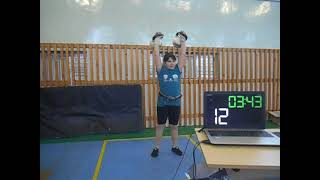 Гиревой спорт. Белякова Арина 2011 года 2 этап Онлайн Кубка мира Толчок 2-х гирь 8 кг 5 минут