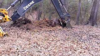 Gambar cover Digging an old Pine Stump with the John Deere Backhoe!
