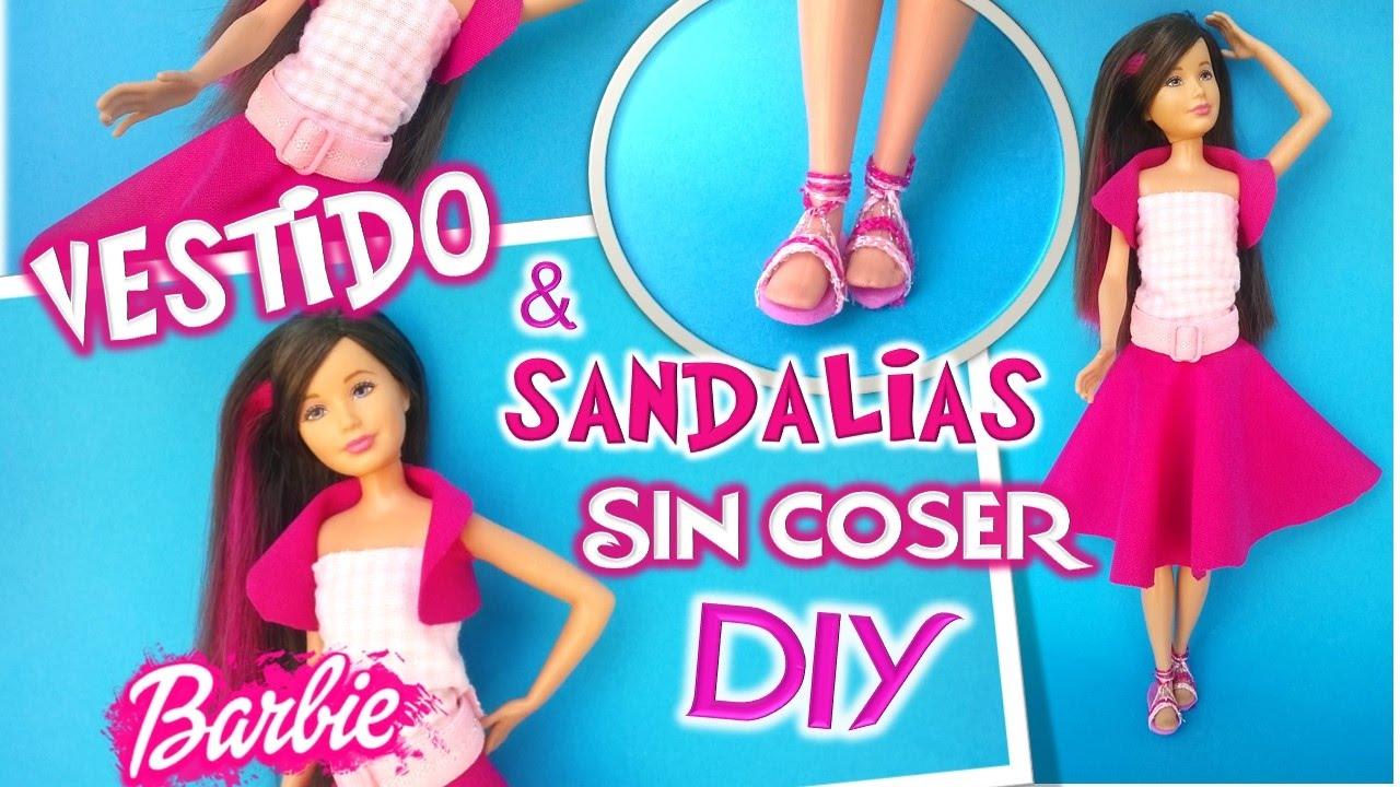 Como hacer ROPA VESTIDO y SANDALIAS para muñecas Barbie Skkiper a01828b4c00a3