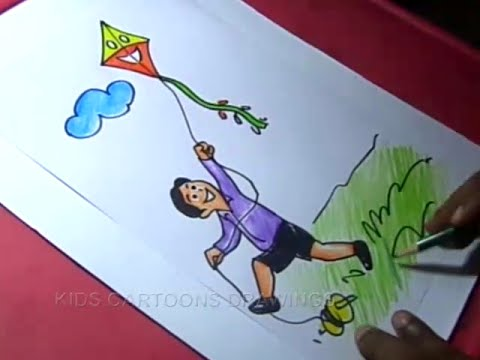 How To Draw Boy Flying Kite Drawing For Kids Youtube